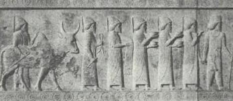 「朝貢者行列」のバビロニア人
