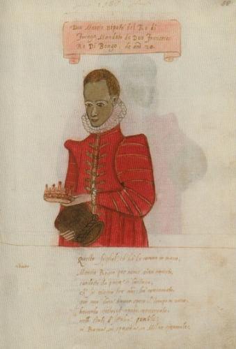 ウルバーノ・モンテ年代記より「伊東マンショ肖像」(素描のある手稿、アンブロジアーナ図書館、ミラノ)