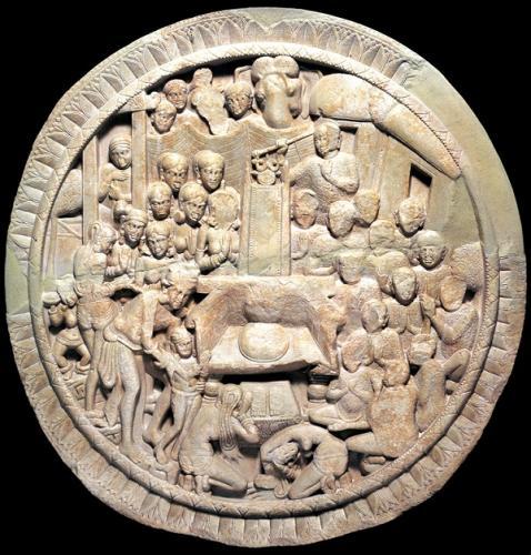 浮彫仏伝図(帰郷説法)   アマラーヴァティー出土 アマラーヴァティー考古博物館