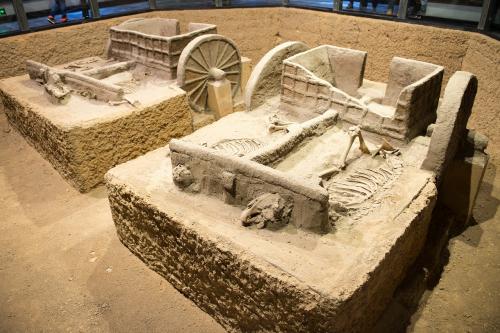殷墟遺跡の馬車